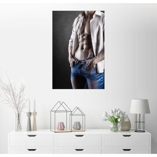 Posterlounge Wandbild, Sexy Mann in weißem Hemd