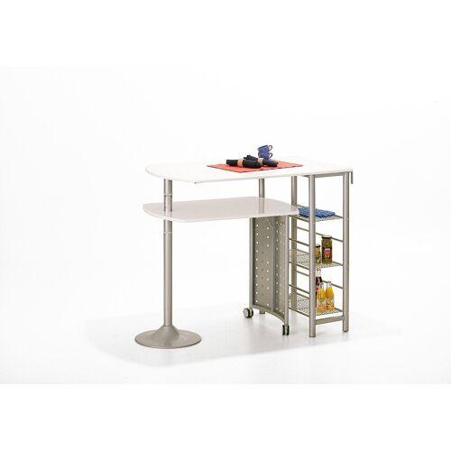 ebuy24 Bartisch, Kommode »Fitor Bartisch Für die Küche,3 Ablagen, weiss, sil«