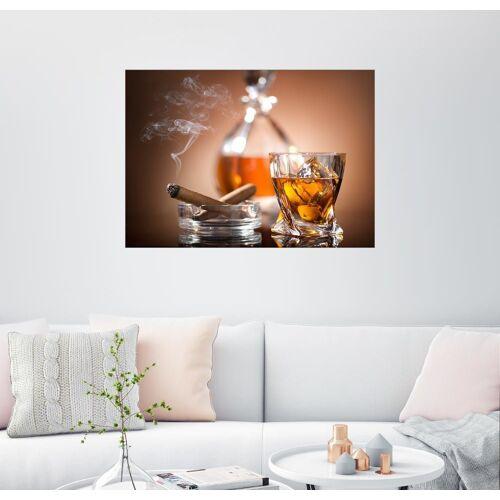Posterlounge Wandbild, Glas Whisky und eine Zigarre