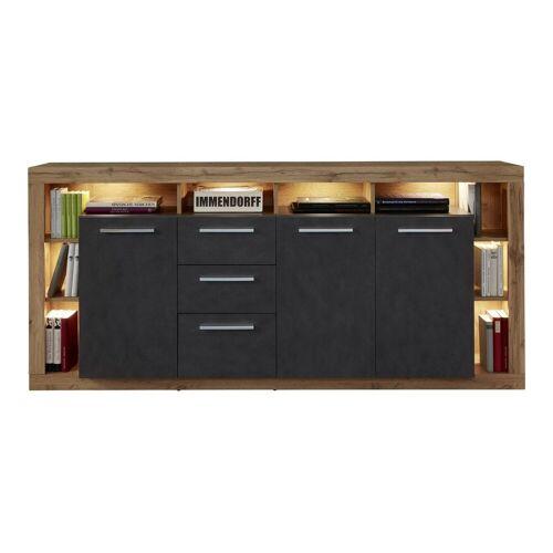 ebuy24 Sideboard »Rominia Sideboard 3 Türen, 2 Schubladen, 8 Ablagen«, Eiche