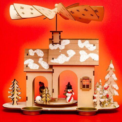 SIKORA Weihnachtspyramide »P32 Holz Teelicht Weihnachtspyramide WINTERHAUS«