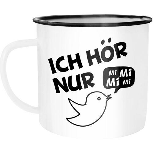 MoonWorks Tasse »Emaille Tasse Becher Ich hör nur Mi Mi Mi MiMiMi Kaffeetasse ®«, emailliert und mit Aufdruck