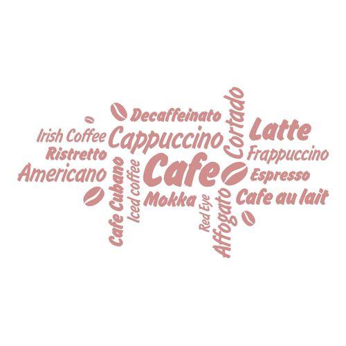 dekodino Wandtattoo »Kaffee Kaffeesorten mit Kaffeebohnen« (1 Stück), 73 - old rose