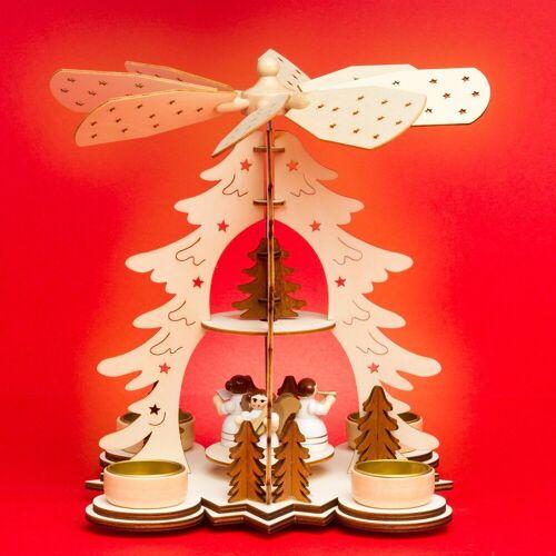 SIKORA Weihnachtspyramide »P27 Teelicht Holz Weihnachtspyramide mit Engeln H:26cm«