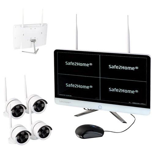 Safe2Home »4X Full HD Cam– Kamera Set Monitor inkl Rekorder – Videoüberwachung kabellos innen - außen 2,4 GhZ« Videokamera (HD, WLAN (Wi-Fi)
