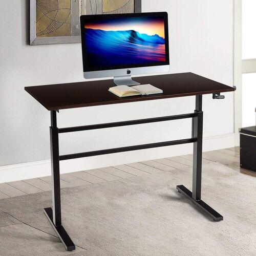 COSTWAY Schreibtisch »Schreibtisch«, Schreibtisch Arbeitstisch mit Kurbel Computertisch höhenverstellbar 75-113cm
