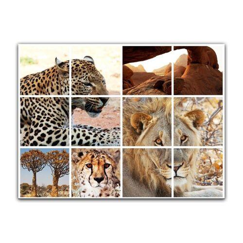 Bilderdepot24 Leinwandbild, Leinwandbild - Afrika Collage I