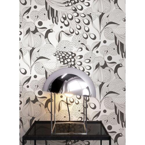 Newroom Vliestapete, Weiß Tapete Modern Pfau - Tiertapete Mustertapete Schwarz Tropisch Exotisch Vogel Feder für Wohnzimmer Schlafzimmer Küche, weiß