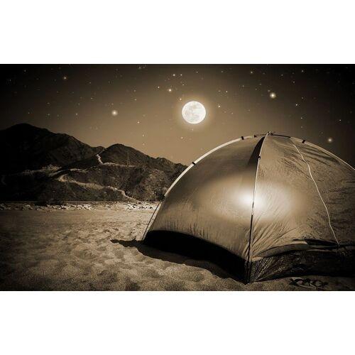 Bilderdepot24 Deco-Panel, selbstklebende Fototapete - Camping bei Nacht, Sephia