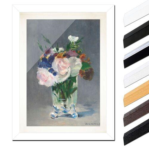 Bilderdepot24 Wandbild, Édouard Manet - Blumen in einer Kristallvase, Weiß Glatt