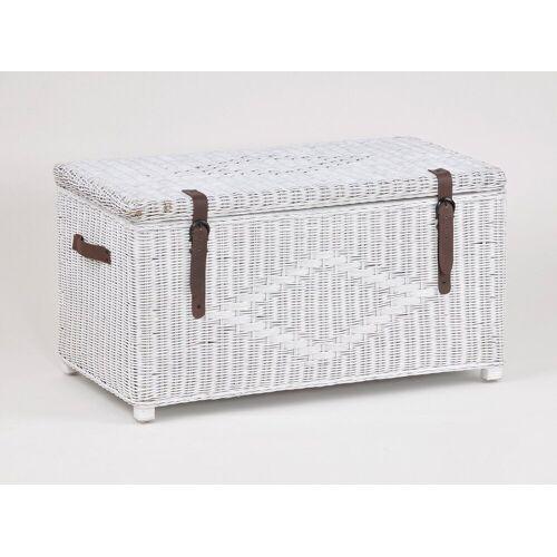 animal-design Wäschetruhe, Flechttruhe ca. 150 Liter Schatztruhe Sitztruhe Rattan mit Tragegriffen, natur, braun o. weiß, weiß