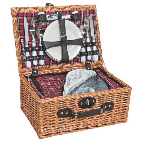matches21 HOME & HOBBY Picknickkorb »Picknickkorb Weidenkorb Koffer 25-tlg. Rot / schwarz / weiß«, Für 4 Personen / Geschirr, Besteck, Zubehör, Kühltasche