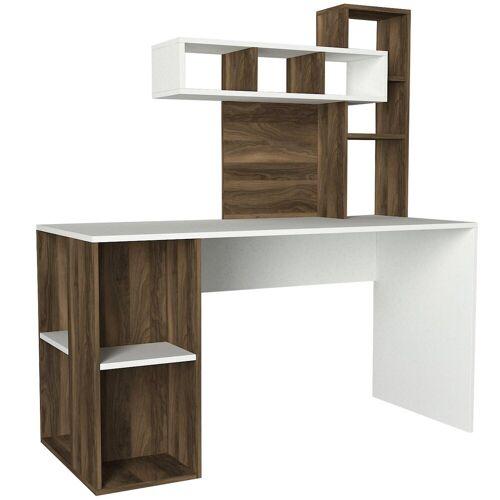 moebel17 Schreibtisch »Schreibtisch Coral Weiß Walnuss«