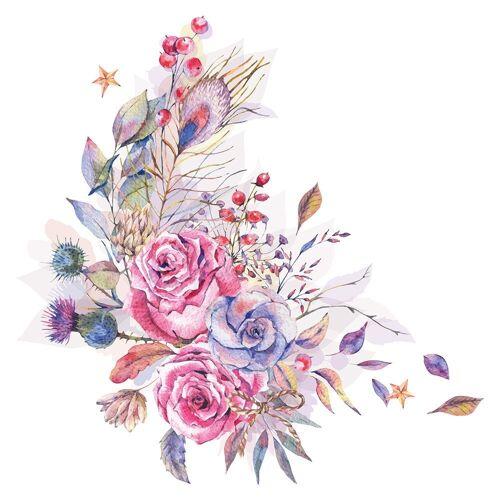 dekodino Wandtattoo »Blumen Aquarell Blumenranke Feder Motiv« (1 Stück)
