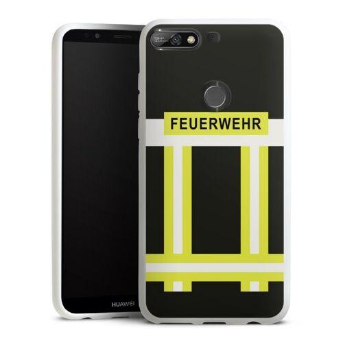 DeinDesign Handyhülle »Feuerwehr« Huawei Y7 (2018), Hülle Feuerwehr Feuerwehrmann Beruf, weiß
