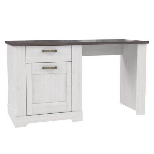 expendio Schreibtisch »Gaston«, weiss grau 141x79 cm im Landhausstil