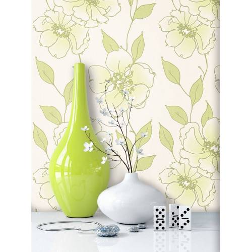 Newroom Vliestapete, Blumentapete Grün Weiß Wallpaper Floral Blumen Tapete Pflanzen Wohnzimmer Schlafzimmer Büro Flur