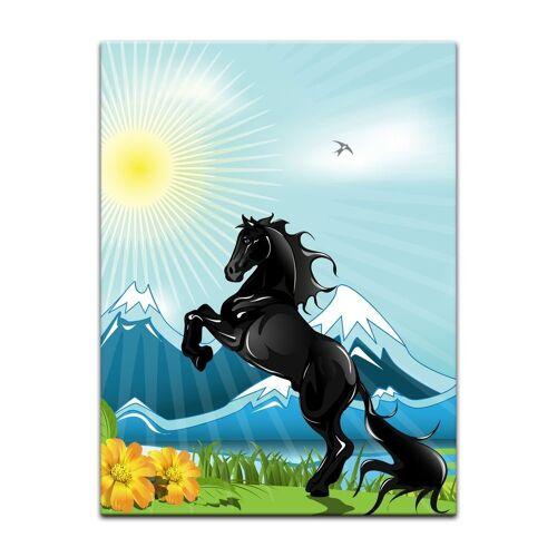 Bilderdepot24 Leinwandbild, Leinwandbild - Kinderbild - Pferd
