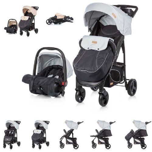 Chipolino Kombi-Kinderwagen »Baby Kombikinderwagen Passo 2 in 1«, mit Autositz, Fußsack, grau