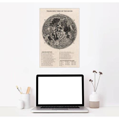 Posterlounge Wandbild, Mondkarte (englisch)