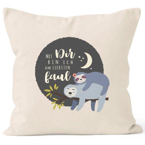 MoonWorks Dekokissen »Kissen-Bezug Faultier Mit Dir bin ich am liebsten faul Spruch Pärchen Geschenk Mond Kissen-Hülle Deko-Kissen Baumwolle ®«, natur