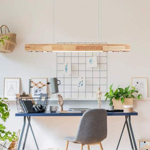 ZMH Pendelleuchte »35W 3000K Holz Pendelleuchte Warmweiße Licht 120cm Pendellampe Hängeleuchte für Wohnzimmer Küche Arbeitszimmer«