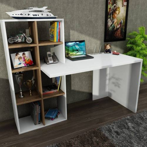 moebel17 Schreibtisch »Schreibtisch Win Weiß Walnuss«