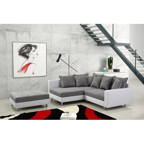 Küchen-Preisbombe Sofa »Modernes Sofa Couch Ecksofa Eckcouch in weiss Eckcouch mit Hocker - Minsk L«, Ecksofa + Hocker