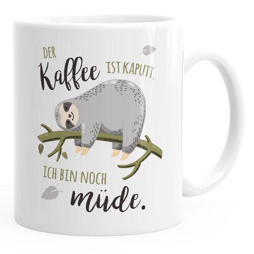 MoonWorks Tasse »Kaffee-Tasse mit Spruch Faultier Bürotasse der Kaffee ist kaputt ich bin noch müde Kaffeebecher ®«