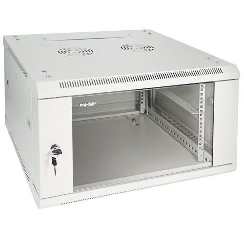 HMF »Serverschrank 19 Zoll, Tiefe: 60 cm, 6-9 HE« Netzwerk-Switch (6 HE, Netzwerkschrank, voll montiert, 60 x 60 x 37 cm, Lichtgrau)