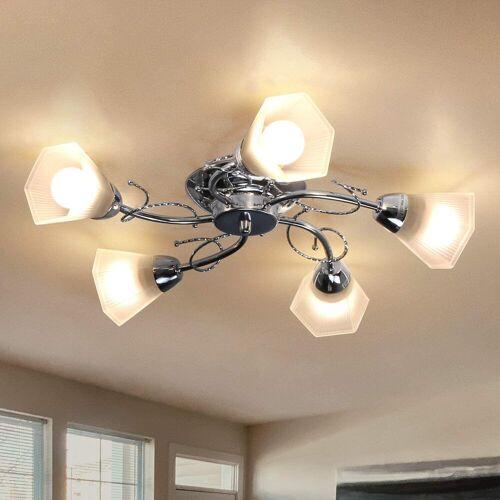 ZMH Deckenleuchte »5*E27 Fassung Deckenlampe aus Glas und Metall in Chrom«