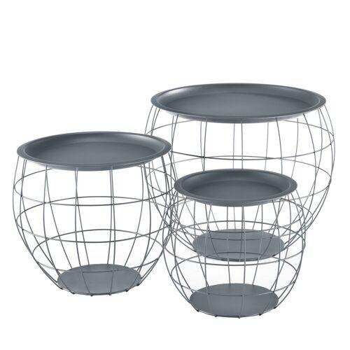 en.casa Beistelltisch, »Neman« Couchtisch Metallkörbe 3er Set Tablettisch Grau, grau
