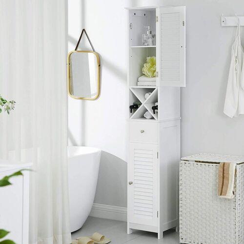 VASAGLE Badkommode »BBC69WT«, Hochschrank, Badschrank mit 2 Lamellentüren, weiß