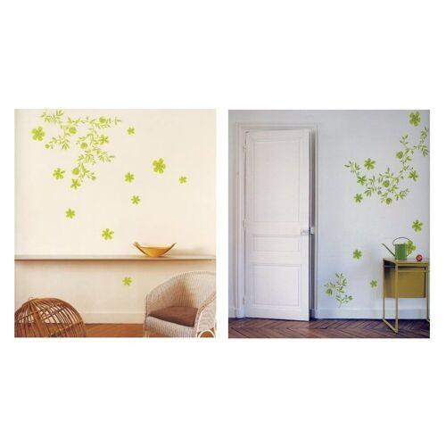 dynamic24 Wandtattoo, 4x XL Wandtattoo Set Wandsticker Wand Aufkleber Blumen Ornamente Tattoo Sticker Blumenranke grün