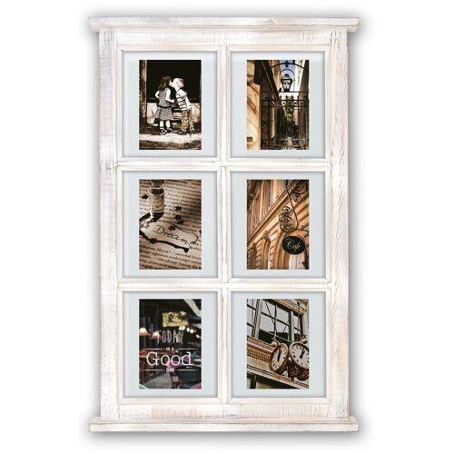matches21 HOME & HOBBY Bilderrahmen »Galerierahmen Fenster Sprossenfenster Vintage Style 6 Fotos«, (1 Stück), Vintage, weiß