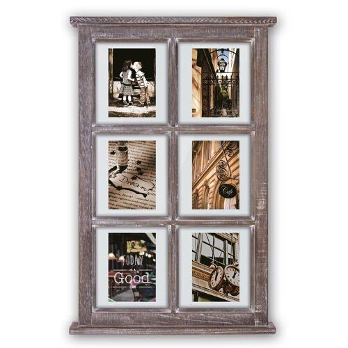 matches21 HOME & HOBBY Bilderrahmen »Galerierahmen Fenster Sprossenfenster Vintage Style 6 Fotos«, (1 Stück), Vintage, braun