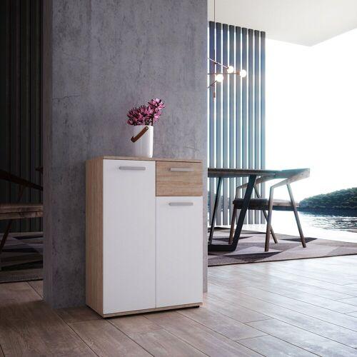 Newroom Kommode »Esra«, Sideboard Sonoma Eiche Weiß Modern Anrichte Highboard Wohnzimmer Schlafzimmer Flur Esszimmer
