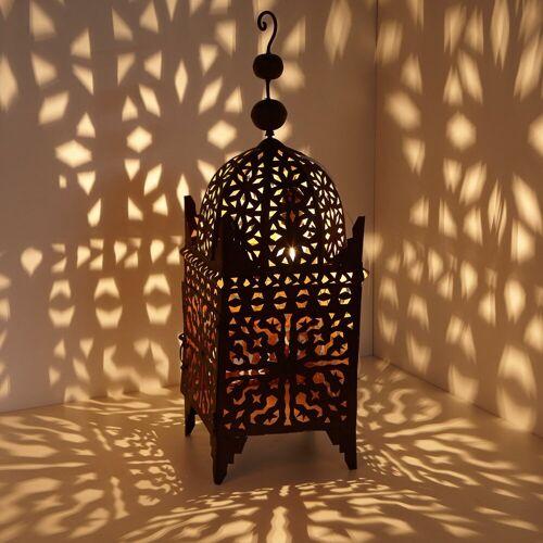 Casa Moro Laterne »Marokkanische Eisen-Laterne Firyal 70 cm hoch x 23cm breit in edelrost-braun für draußen & Innen, hängend & stehend, Windlicht wie aus 1001 Nacht, L1650«