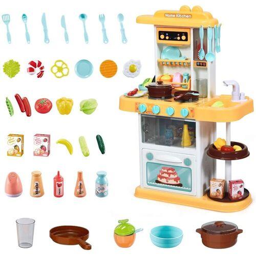 COSTWAY Spielküche »Kinderküche Kinderspielküche Spielzeugküche«, mit Spieluhr und Lichtern, inkl. 38 STK. Zubehör, Gelb
