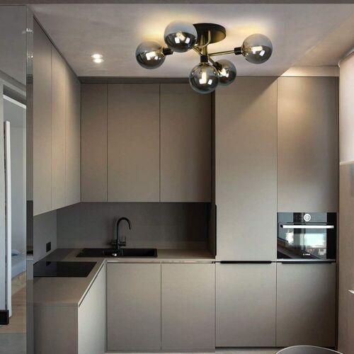 ZMH Deckenleuchte »Glas Kugel deckenlampe Wohnzimmerlampe Schlafzimmerleuchte Innenleuchte Kronleuchte Esszimmerlampe«, Rauchgrau