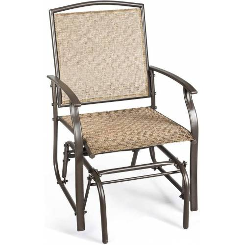 COSTWAY Schaukelstuhl »Schwingstuhl« Schaukelstuhl Garten, Gartenstuhl mit Metallrahmen, Schaukelsessel Outdoor, Schwingsessel für Balkon