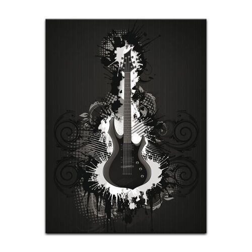 Bilderdepot24 Leinwandbild, Leinwandbild - E-Gitarre Illustration - sw