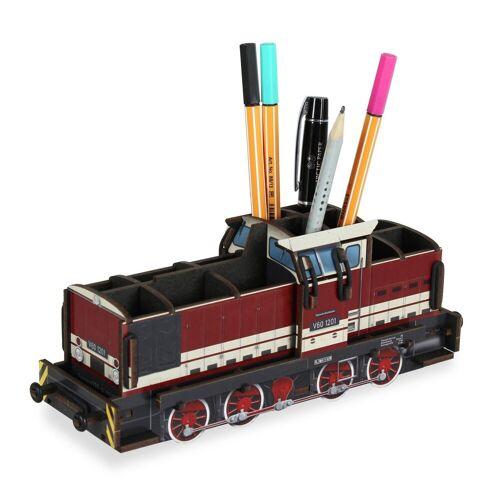 WERKHAUS® Schreibtischaufsatz »Werkhaus - Stiftebox Diesellok V60 Rot WE2098 Lok Zug«