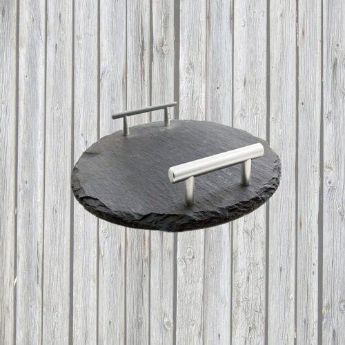 Airbrush-City Servier-Set »Schiefer Buffet-Platte, Servierplatte, Schieferplatte, Käseplatte 30 cm rund mit Griff naturbelassen«