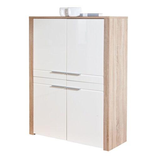 ebuy24 Sideboard »Abcent Sideboard 4 Türen weiss Hochglanz, Sonoma E«