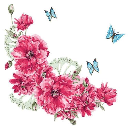 dekodino Wandtattoo »Blumen Aquarell Blumenranke und Schmetterlinge« (1 Stück)