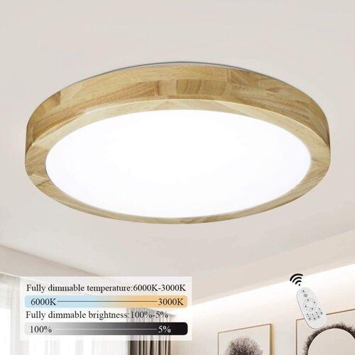 ZMH LED Deckenleuchte »Deckenlampe Holz Φ40cm 22W dimmbar mit der Fernbedienung innen Wohnzimmerlampe Schlafzimmerlampe«