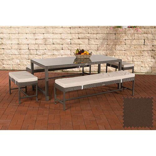 CLP Gartenmöbelset »Sitzgruppe Hawaii«, Garten-Set aus 4 Sitzbänken und Esstisch, grau