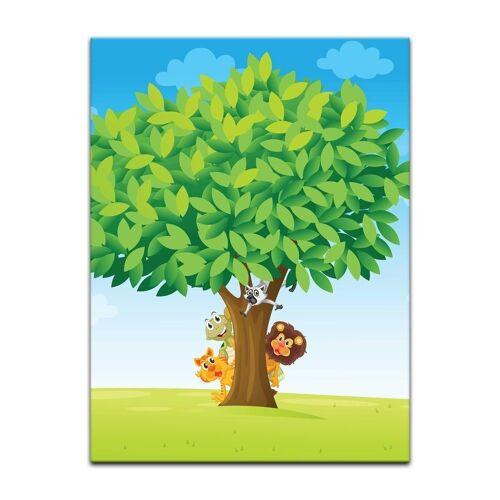 Bilderdepot24 Leinwandbild, Leinwandbild - Kinderbild - Baum mit Tieren