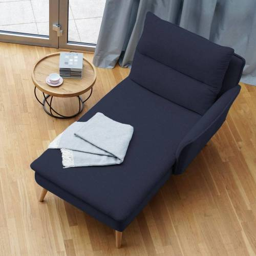 PLACE TO BE. Recamiere, Recamiere Ottomane Chaiselongue Sitzbank Polsterbank Tagesbett Daybed mit Armlehne rechts, Blau